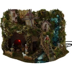 Complete nativity scene with statues, waterfall, mill, fire and lights
