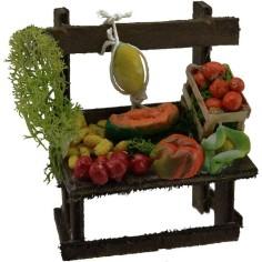Mondo Presepi Banco con frutta e verdura cm 7x5,3x9 h.