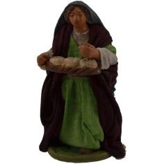 Donna con cesto di pane 10 cm  - 2
