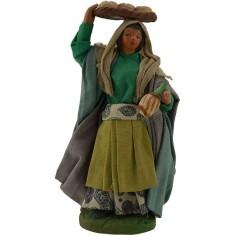 Donna con cesto di pane e fiasco 12 cm  - 1