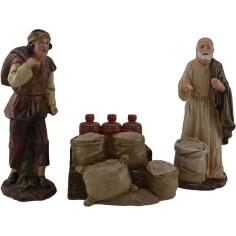 Mondo Presepi 20 Cm venditori di farina con banco 3 pz