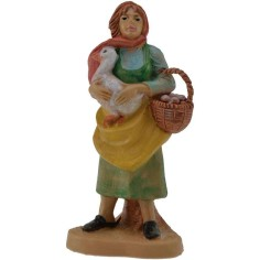 10 cm lux Woman with goose and basket