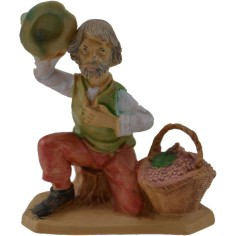 6 cm Shepherd with grapes in pvc lux