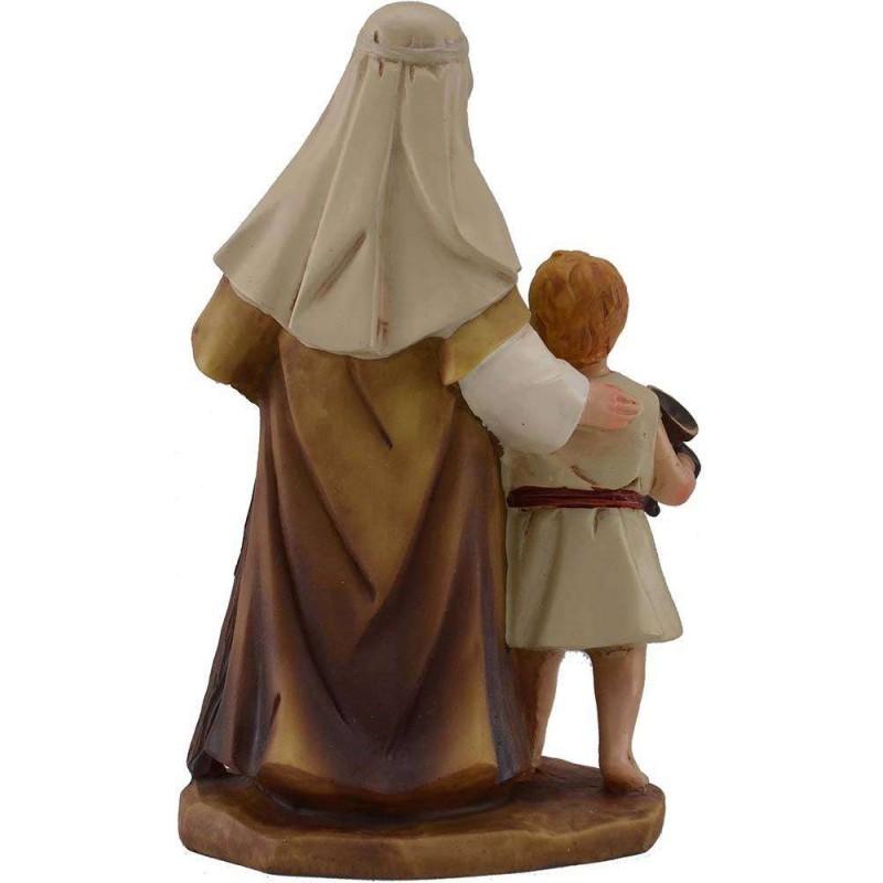 Mondo Presepi 15 cm Uomo con bambino in resina