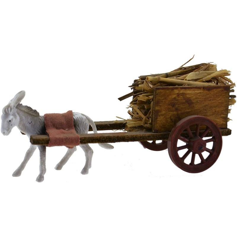 Carro paglia in legno con asino al traino Mondo Presepi