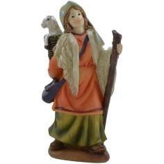 Mondo Presepi Donna con agnello nella cesta 15 cm in resina