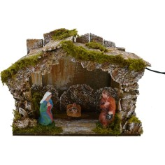 World Nativity Hut with holy nativity and the light battery - the Cave
