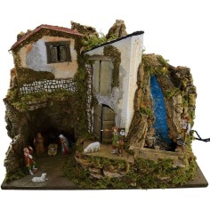 Nativity scene complete with Landi statues, lights and
