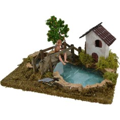 World Nativity Pond with depth fisherman Landi