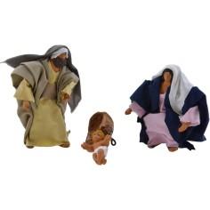 Articulated nativity 12 cm in dressed terracotta