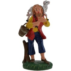 World Nativity Shepherd with sheep on his shoulders 8 cm
