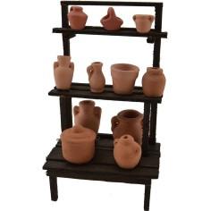 Bancarella in legno con anfore e vasi cm 8,5x6x15,5 h.