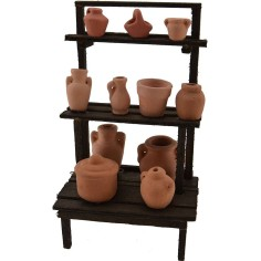 World Cribs Stand in wood with amphorae and vases cm 9x6x15,5