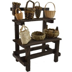World Cribs Stand in wood with wicker baskets cm