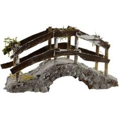 World Nativity scenes Bridge in resin and wood cm 14X5