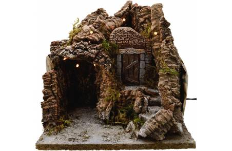 World Nativity cave Nativity with lights and cm 25x20x25 h.