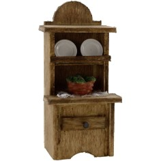 World Cribs Sideboard with dishes and a basket
