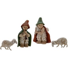 World Nativity Set 2 statues and 2 sheep for the crib child, 7 cm
