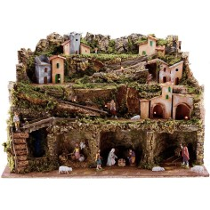 World Presepi Presepe complete with Landi statues, Luci and waterfall