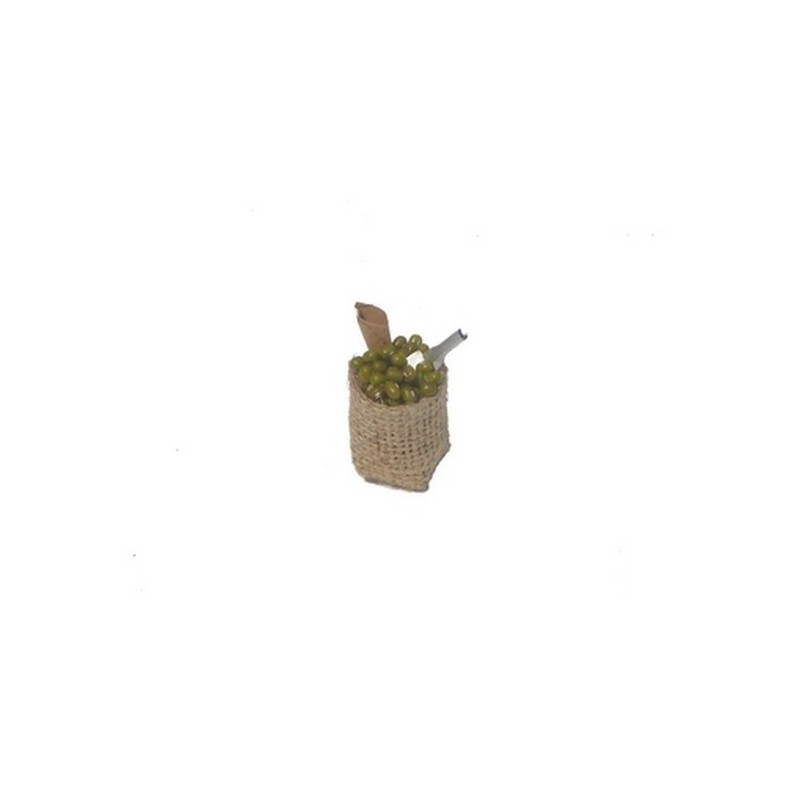 Jute bag 3-4 cm with round olives