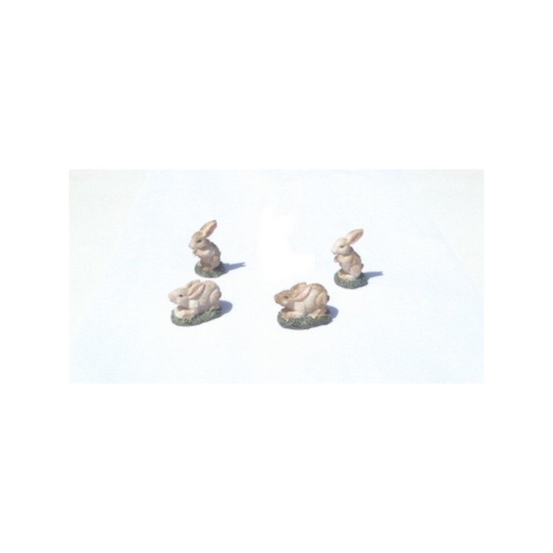 Mondo Presepi Set 4 conigli cm 3,5 - Cod. RA15
