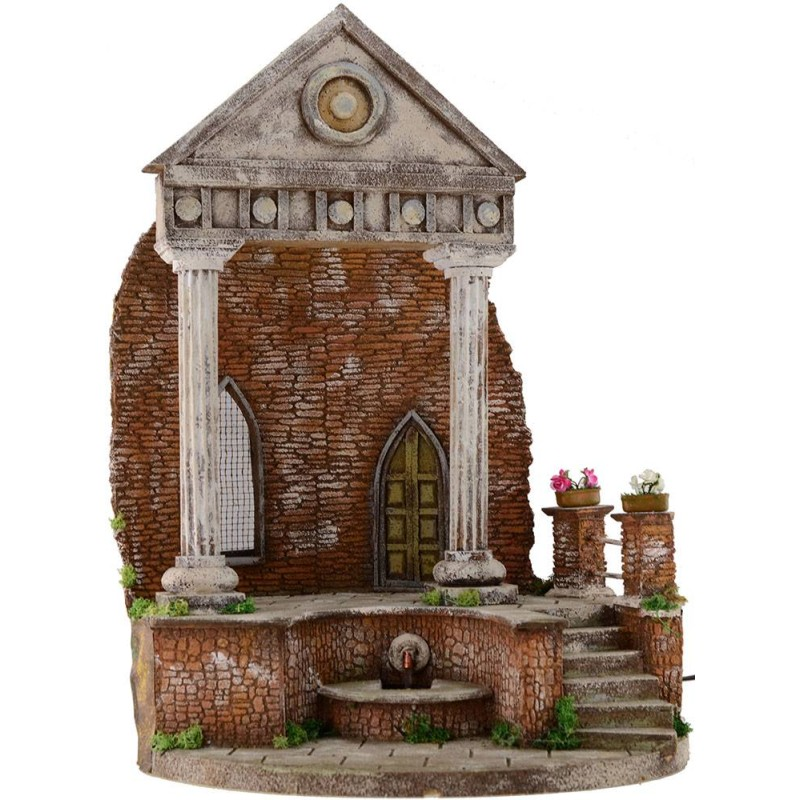 World Presepi Temple with fountain functioning cm 41x30x56 h.