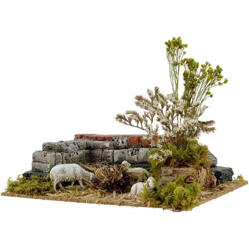 Mondo Presepi Ovile con pecore cm 22x15x15 h.