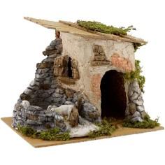 Casa con pecore cm 23x17x17 h.