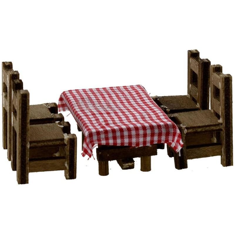 Mondo Presepi Tavolo in legno cm 6x4,2X3 h. con 4 sedie