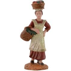 Donna con ceste di frutta cm 10 Oliver