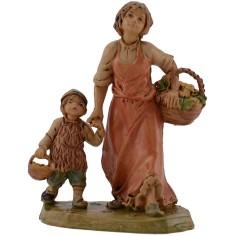 Mondo Presepi Mamma con bambino per mano 12 cm lux