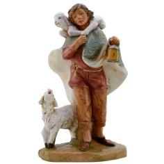Mondo Presepi Pastore con pecora e agnellino serie 19 cm