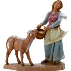 Mondo Presepi Pastorella con vitello 19 cm Fontanini