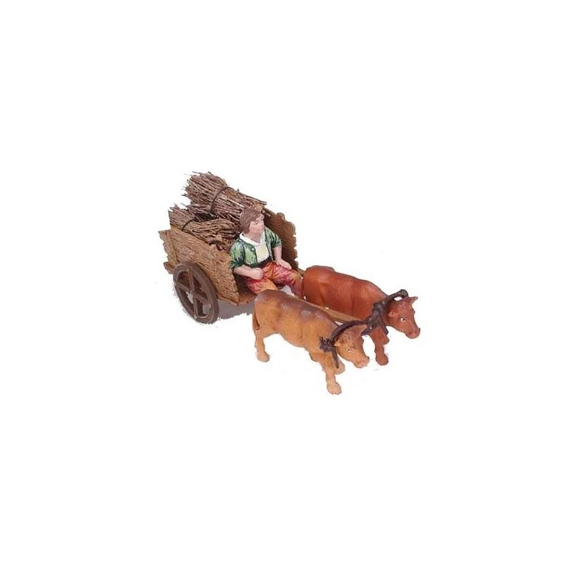 Mondo Presepi Carro con carrettiere cm 10