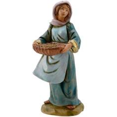 Mondo Presepi Donna con cesto 12 cm Fontanini