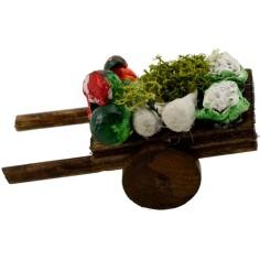 Carretto in legno con frutta e verdura cm 5,5x3x3 h.