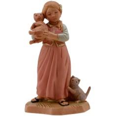 Mondo Presepi Bambina con gattini serie 12 cm Fontanini