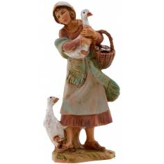World Presepi Woman with geese 9.5 cm Fontanini