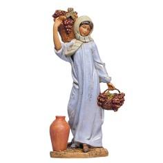 Donna con cesti di uva 30 cm Fontanini