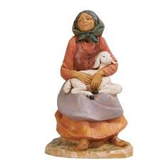 Pastorella seated with pecora series 30 cm Fontanini