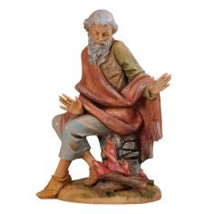 Vecchio seduto al fuoco serie 30 cm Fontanini