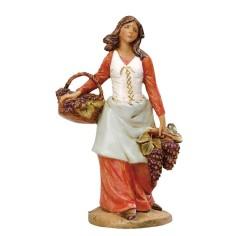 Donna con cesti d'uva 19 cm Fontanini