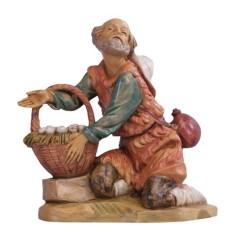 Pastore in ginocchio con cesto serie 6,5 cm Fontanini Mondo