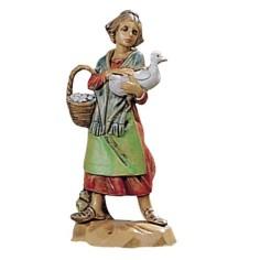 Donna con oca 6,5 cm Fontanini Mondo Presepi