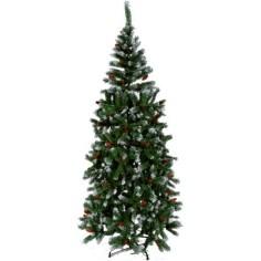 Albero di Natale 180 cm con pigne e neve 420 rami