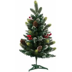 Albero di Natale innevato 60 cm con bacche rosse e pigne