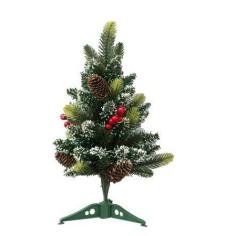 Albero di Natale innevato 40 cm con bacche rosse e pigne