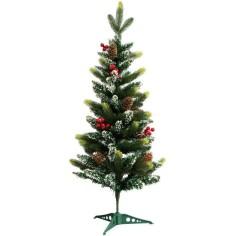 Albero di Natale innevato 90 cm con bacche rosse e pigne