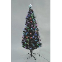 Albero di Natale innevato 120 cm con fibre ottiche colorate e