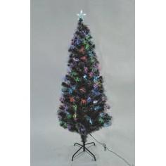 Albero di Natale innevato 180 cm con fibre ottiche colorate e